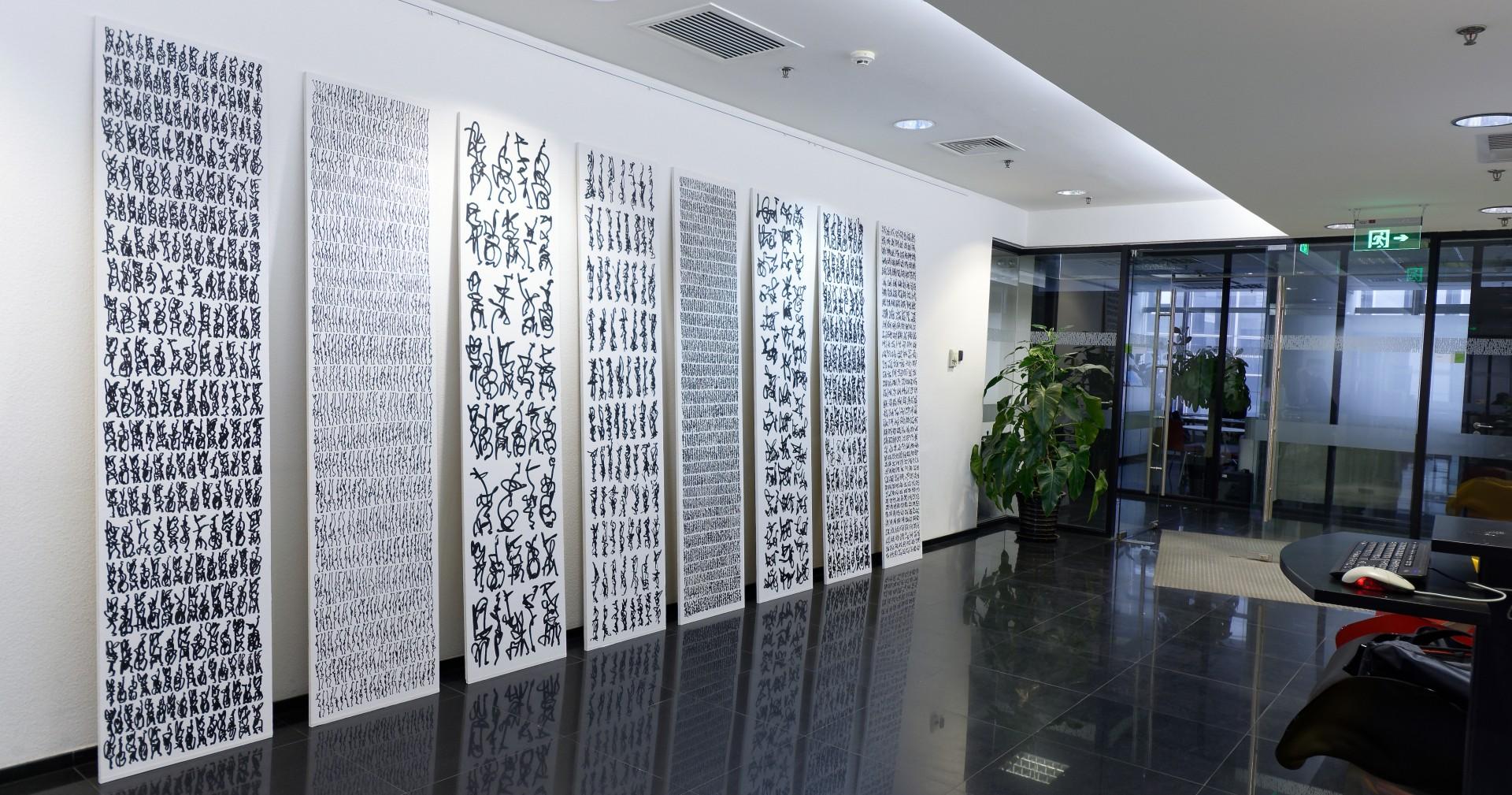 Stelen, Acryl auf Leinwand, je 230 x 50 cm, 2018